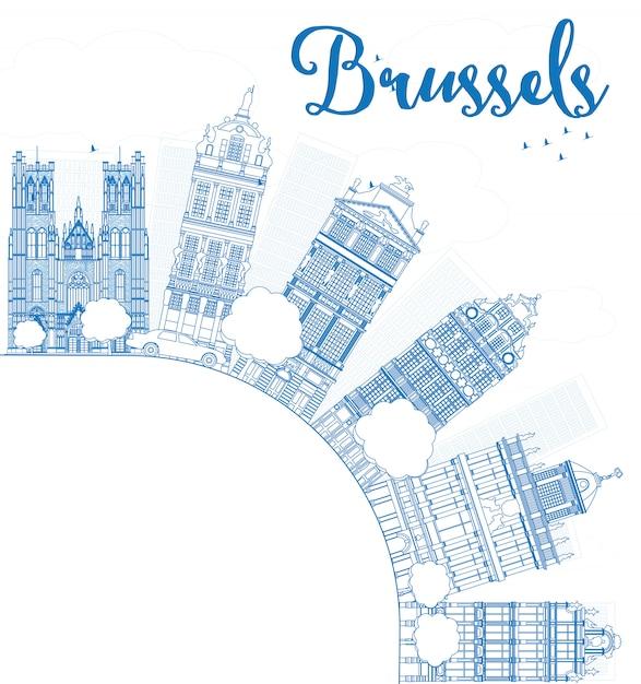 Skyline de bruxelles contour avec bâtiment bleu et espace de copie Vecteur Premium