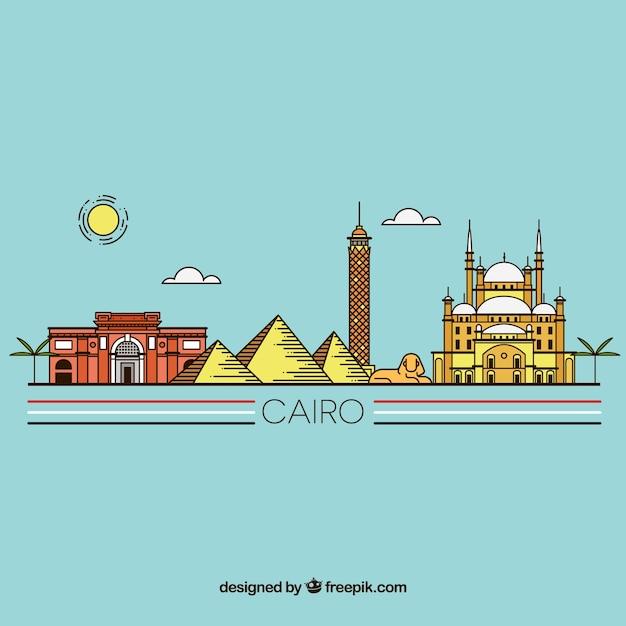 Skyline de cairo dessiné main coloré Vecteur gratuit