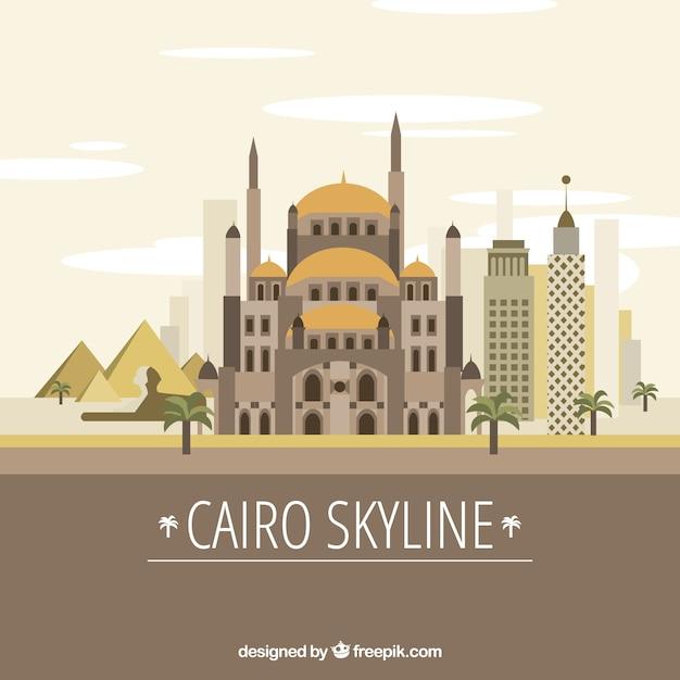 Skyline de cairo élégant avec un design plat Vecteur gratuit
