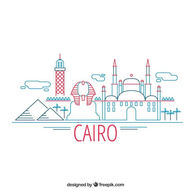 Skyline cairo moderne avec style linéaire Vecteur gratuit