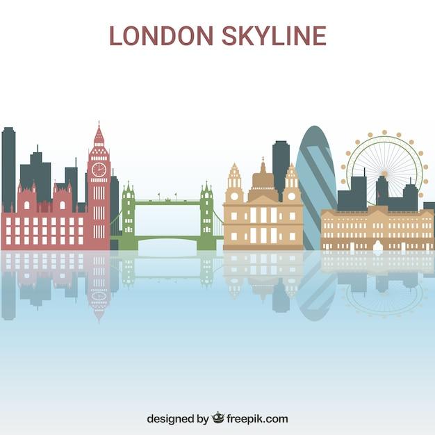 Skyline colorée de londres Vecteur gratuit