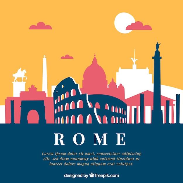 Skyline Créative De Rome Vecteur gratuit
