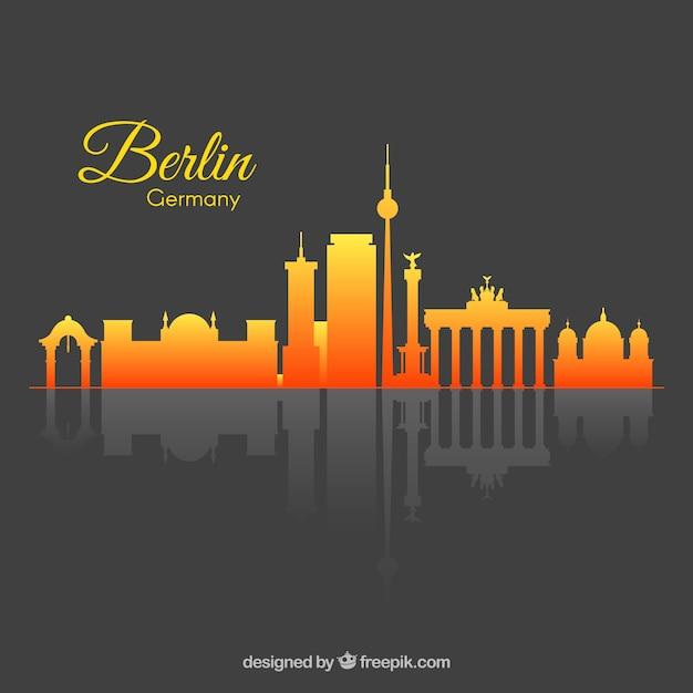 Skyline dégradé de berlin Vecteur gratuit