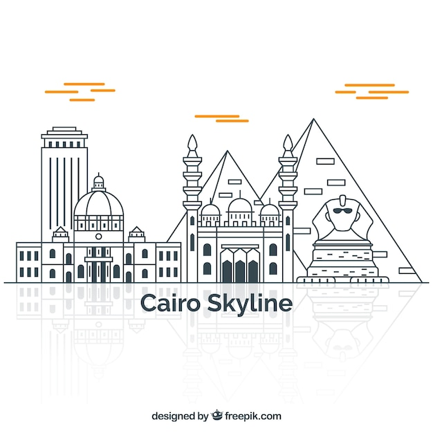 Skyline dessiné de la main du caire, egypte Vecteur gratuit