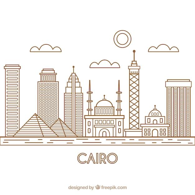 Skyline du caire, egypte Vecteur gratuit