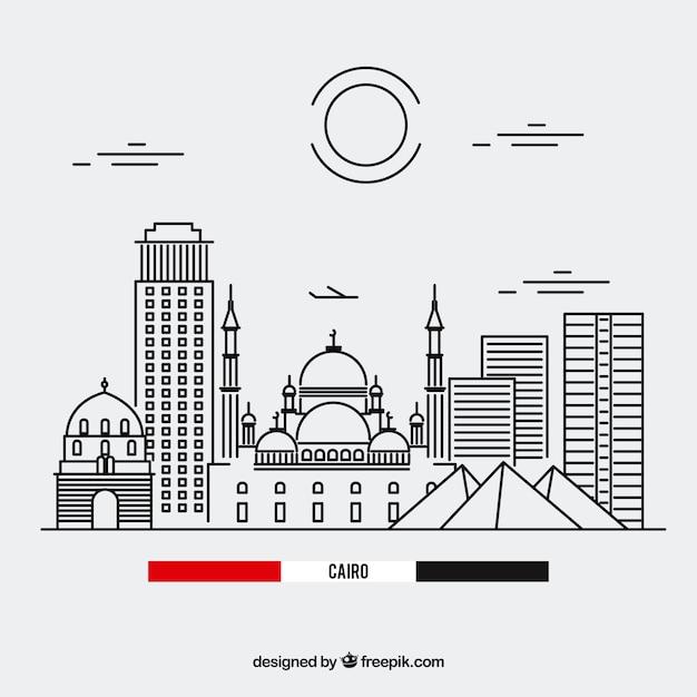 Skyline du caire avec un style linéaire Vecteur gratuit