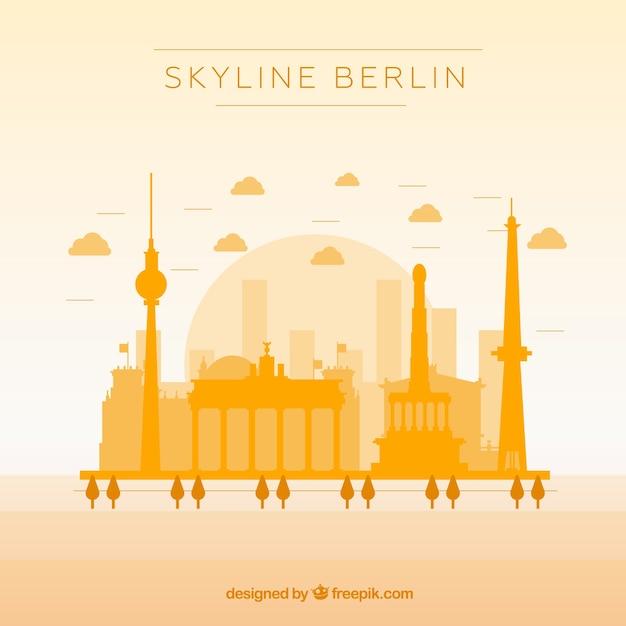 Skyline jaune de berlin Vecteur gratuit