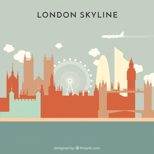 Skyline de londres dans le style plat Vecteur gratuit