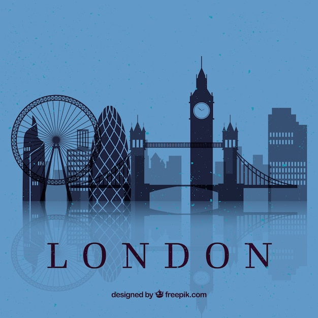 Skyline de londres sur fond bleu Vecteur gratuit