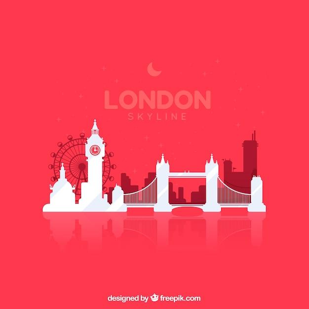 Skyline de londres sur fond rouge Vecteur gratuit