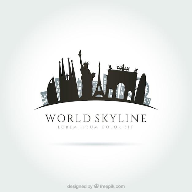 Skyline mondiale Vecteur gratuit