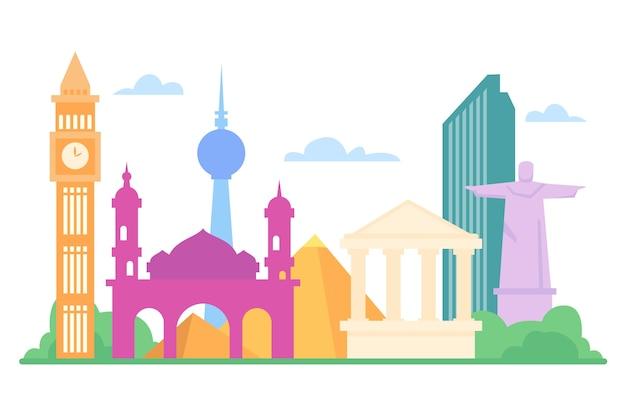 Skyline De Monuments Colorés Vecteur gratuit
