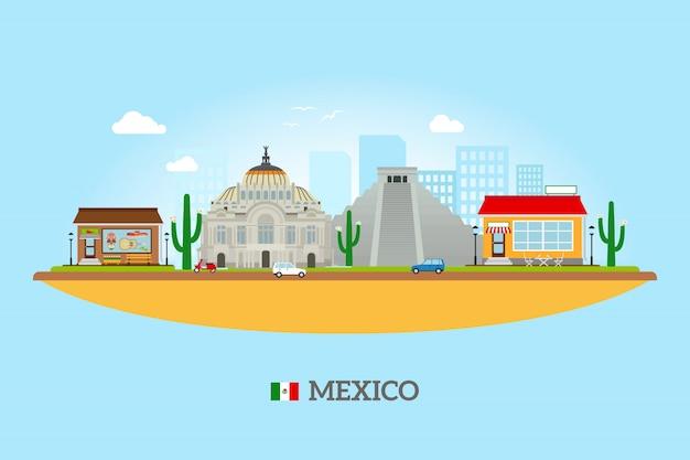 Skyline des monuments du mexique Vecteur Premium