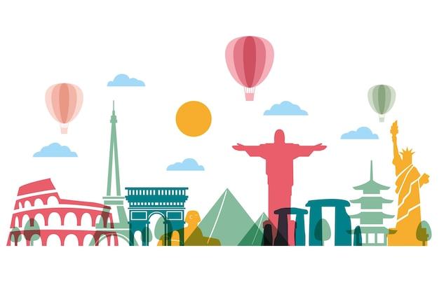 Skyline Avec Des Nuages Et Des Ballons Vecteur gratuit