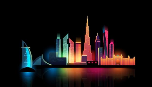 Skyline de nuit de la ville de dubaï avec des lumières colorées Vecteur Premium