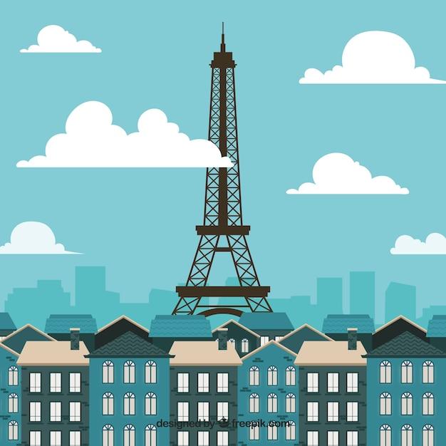 Skyline De Paris Au Design Plat Vecteur gratuit