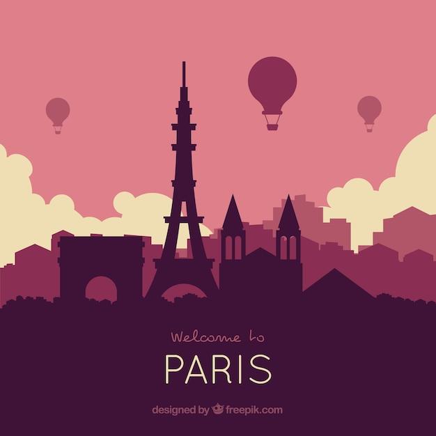 Skyline De Paris Dans Les Tons Violets Vecteur gratuit