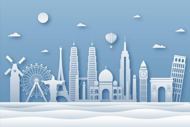 Skyline De Repères Bleus Dans Un Style Papier Vecteur gratuit