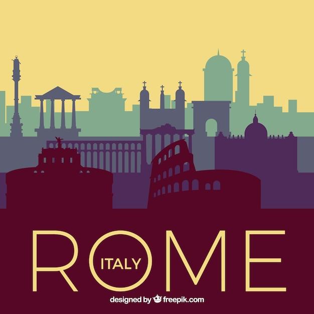Skyline De Rome Dans Les Tons Bleus Vecteur gratuit