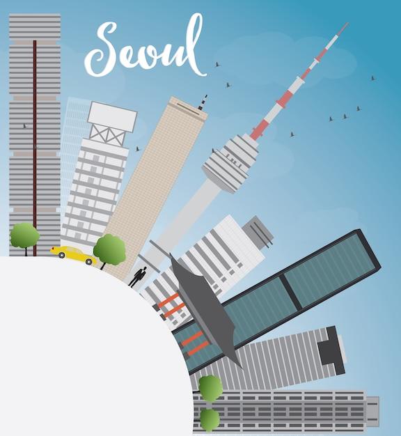 Skyline de séoul avec bâtiment gris, ciel bleu et espace de copie Vecteur Premium