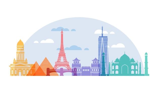 Skyline De Sites Touristiques Colorés Vecteur gratuit