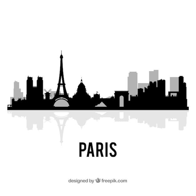Skyline Sombre De Paris Vecteur Premium