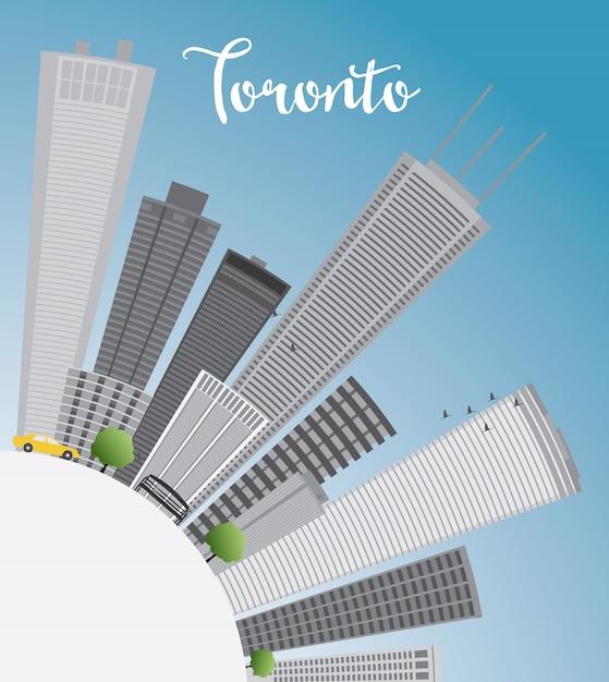 Skyline De Toronto Avec Des Bâtiments Gris, Ciel Bleu Et Espace De Copie. Vecteur Premium