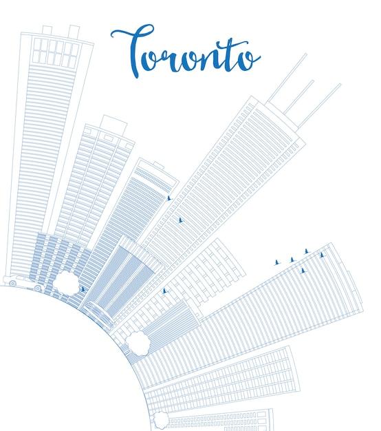Skyline De Toronto Contour Avec Bâtiments Bleus Et Espace De Copie. Vecteur Premium