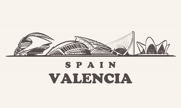 Skyline De Valence, Illustration Vintage D'espagne, Bâtiments Dessinés à La Main De La Cité Des Arts Et Des Sciences Vecteur Premium