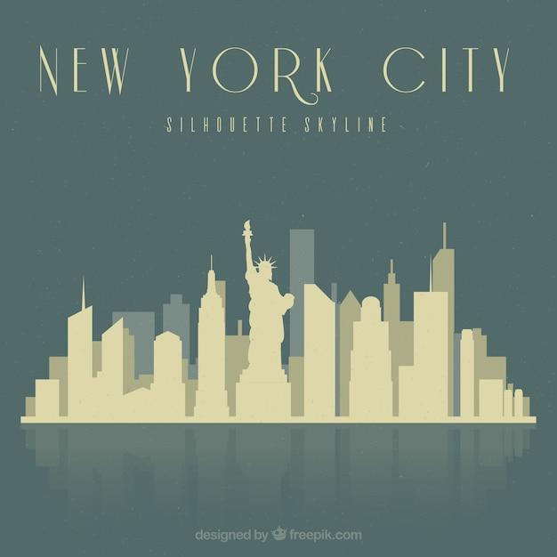 Skyline De La Ville De New York Vecteur gratuit