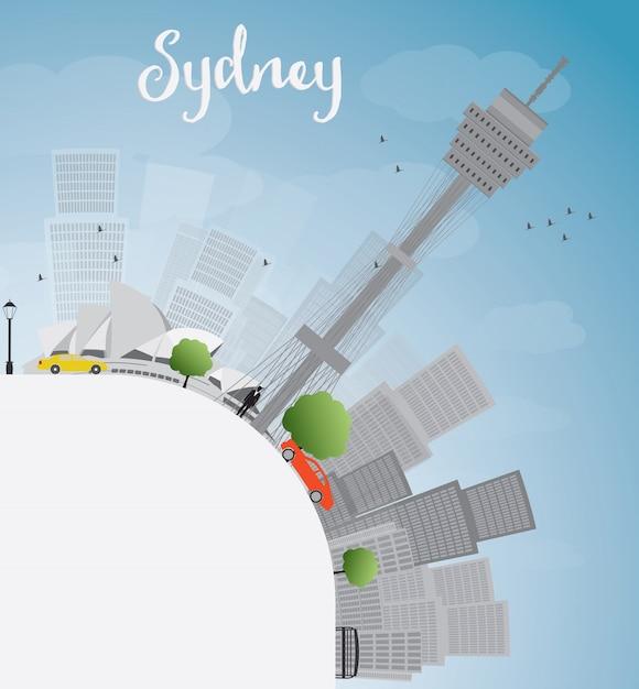 Skyline de la ville de sydney avec ciel bleu, gratte-ciels et espace de copie Vecteur Premium