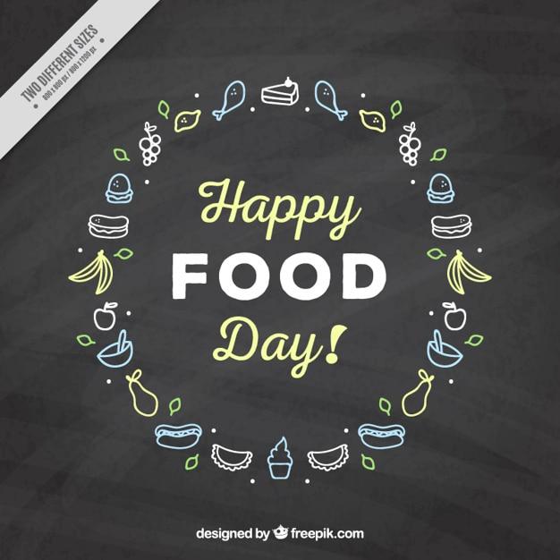 Slate fond avec des croquis de nourriture Vecteur gratuit