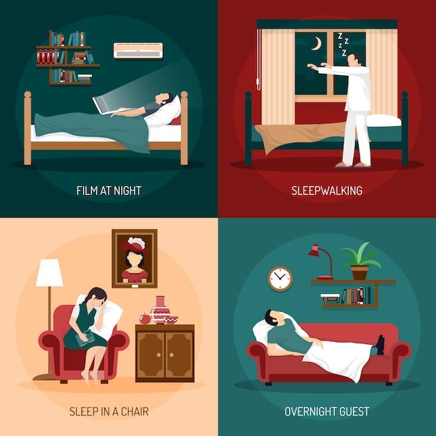 Sleeping poses 2x2 design concept Vecteur gratuit