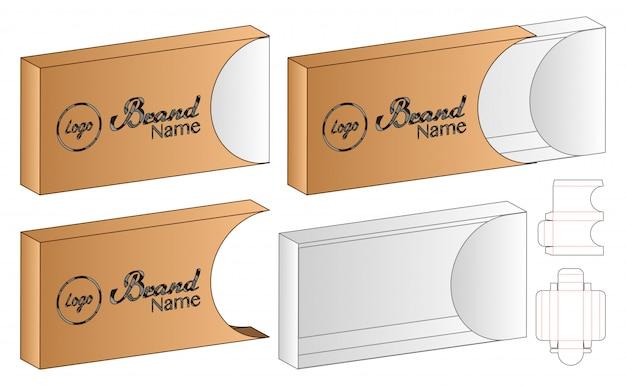 Slide box packaging die design conception de modèle. Vecteur Premium