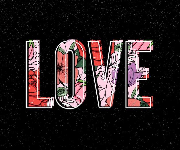 Slogan d'amour Vecteur Premium