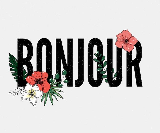 Slogan Bonjour | Vecteur Premium