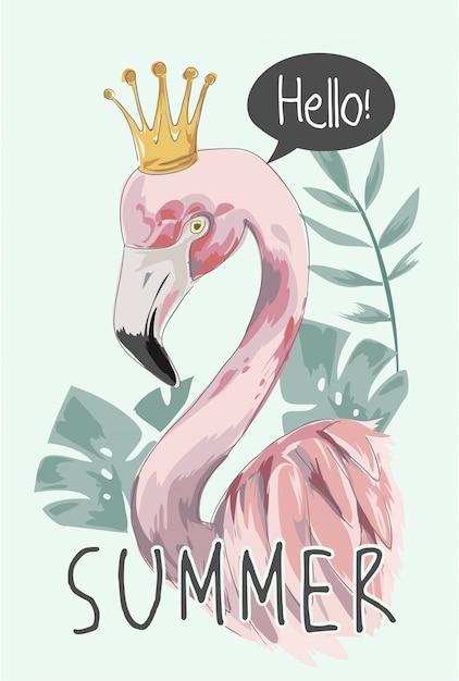 Slogan d'été avec flamant rose et couronne Vecteur Premium