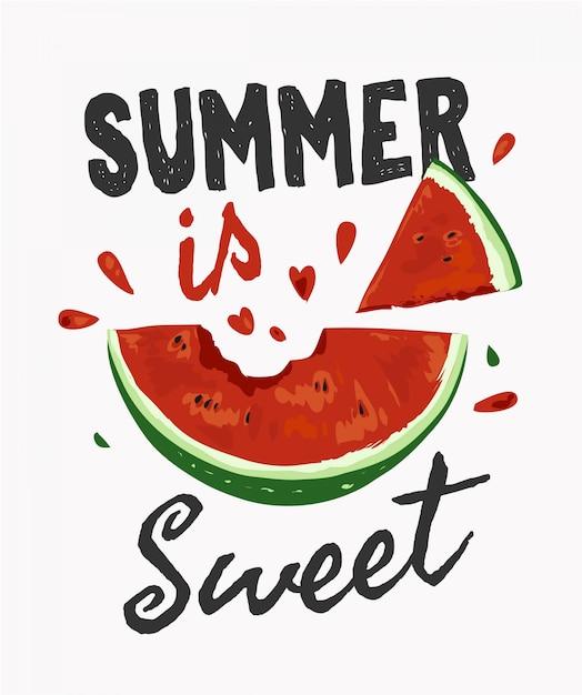 Slogan de l'été avec illustration de la pastèque piquée Vecteur Premium
