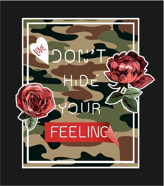 Slogan sur fond camouflé avec illustration de roses Vecteur Premium