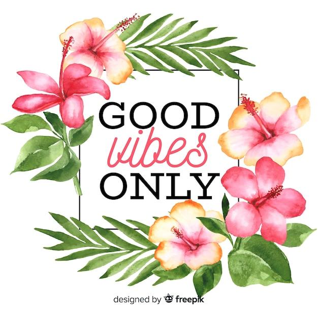 Slogan Avec Fond De Fleurs Dessinées à La Main Vecteur gratuit