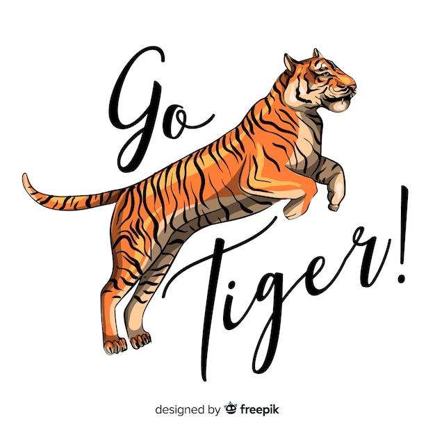 Slogan avec fond de tigre réaliste Vecteur gratuit
