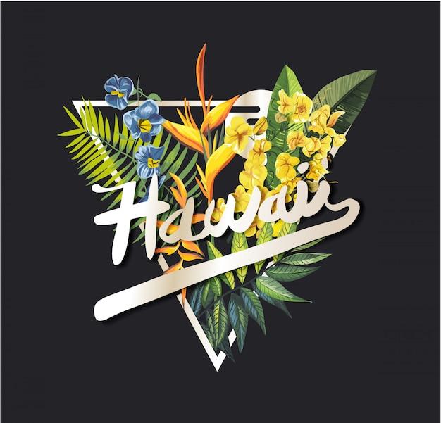 Slogan graphique d'hawaï avec fleur tropicale Vecteur Premium