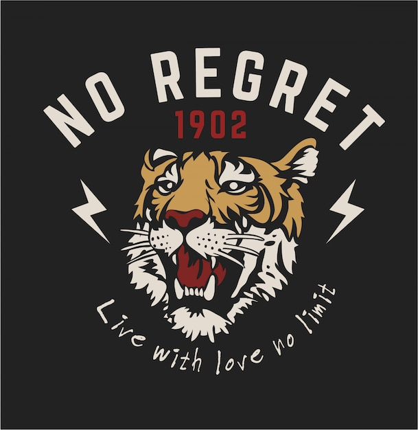 Slogan graphique avec illustration graphique tigre Vecteur Premium