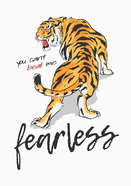 Slogan avec illustration graphique tigre Vecteur Premium