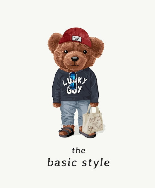 Slogan De Style De Base Avec Ourson En Illustration De Costume De Mode De Rue Vecteur Premium