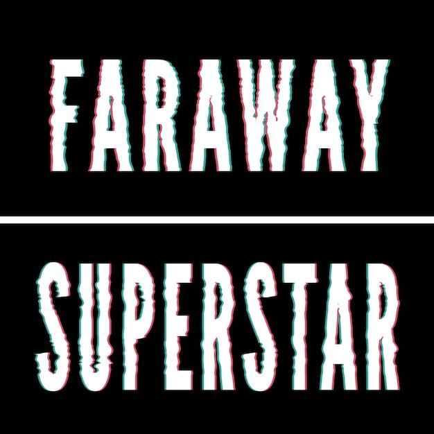 Slogan superstar faraway, typographie holographique et pépite, graphique de tee-shirt, design imprimé. Vecteur Premium