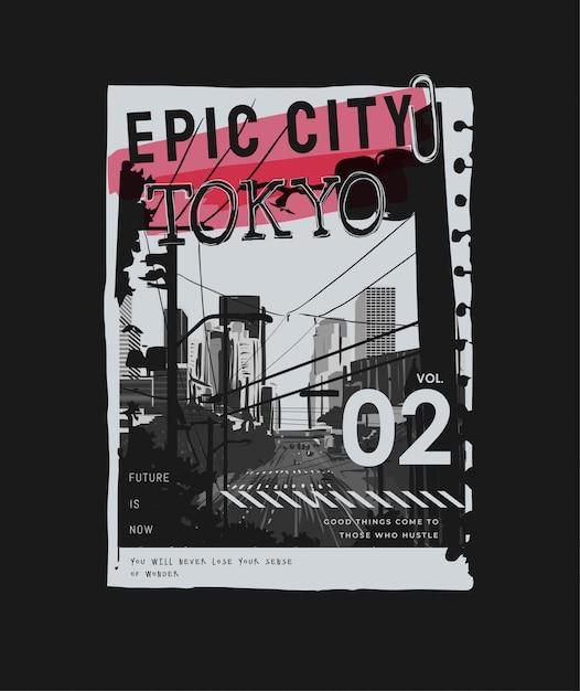 Slogan De Tokyo Sur Papier Silhouette Ville N / B Arraché Sur Noir Vecteur Premium