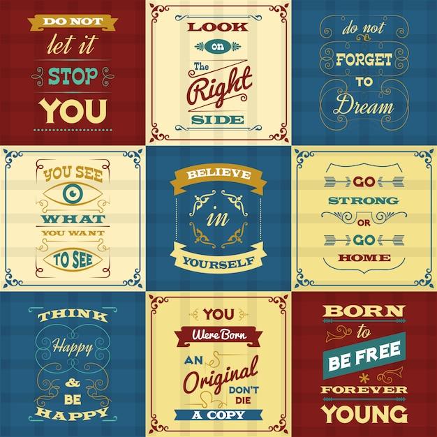 Slogan typographie affiches Vecteur gratuit