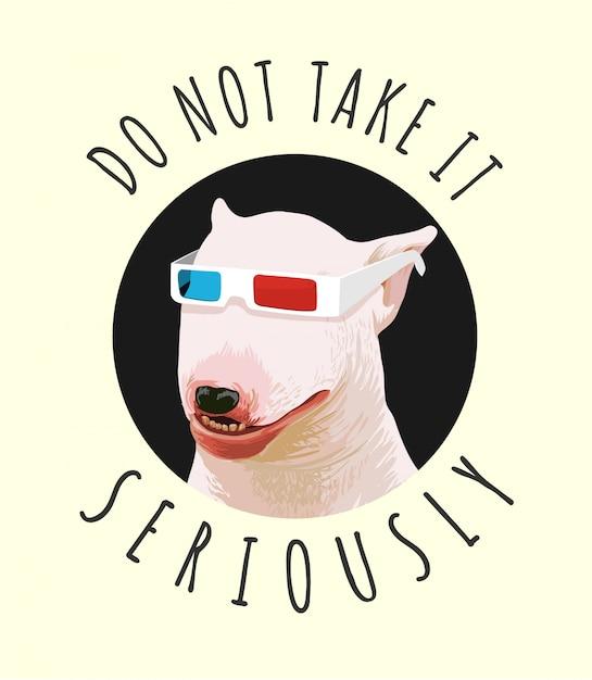 Slogan de typographie avec chien drôle sur illustration de lunettes 3d Vecteur Premium