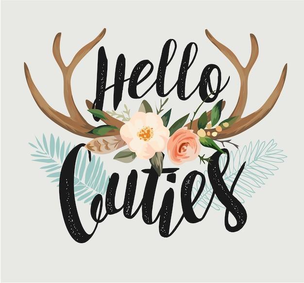 Slogan de typographie avec illustration de fleur de cerf antler Vecteur Premium